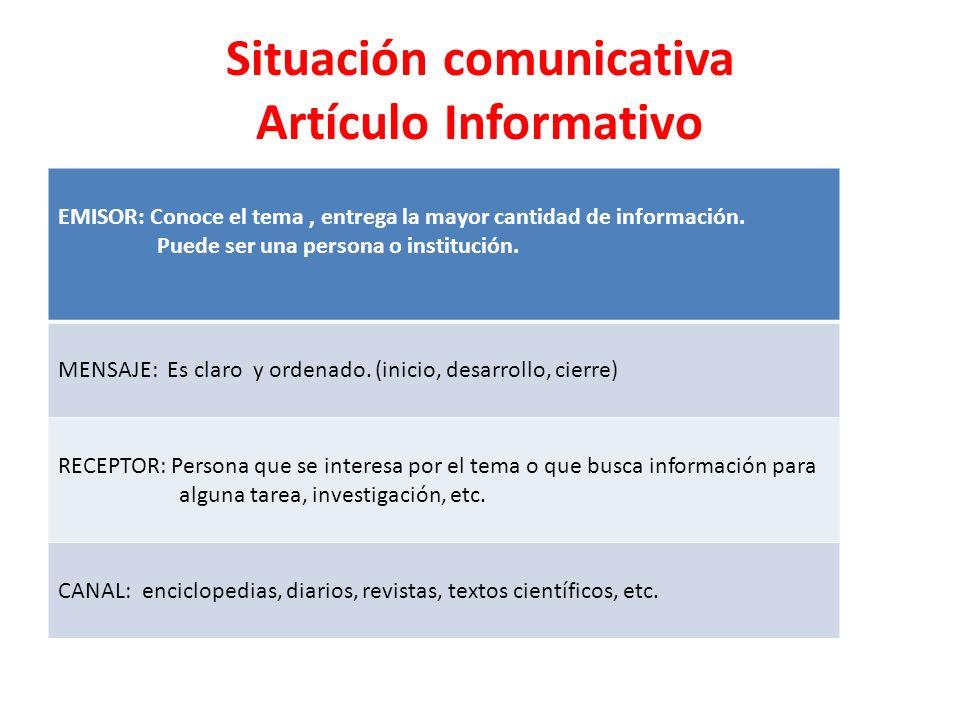 Situación comunicativa Artículo Informativo