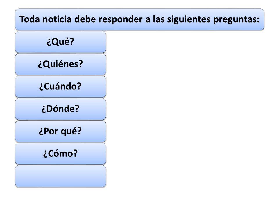 Toda noticia debe responder a las siguientes preguntas: