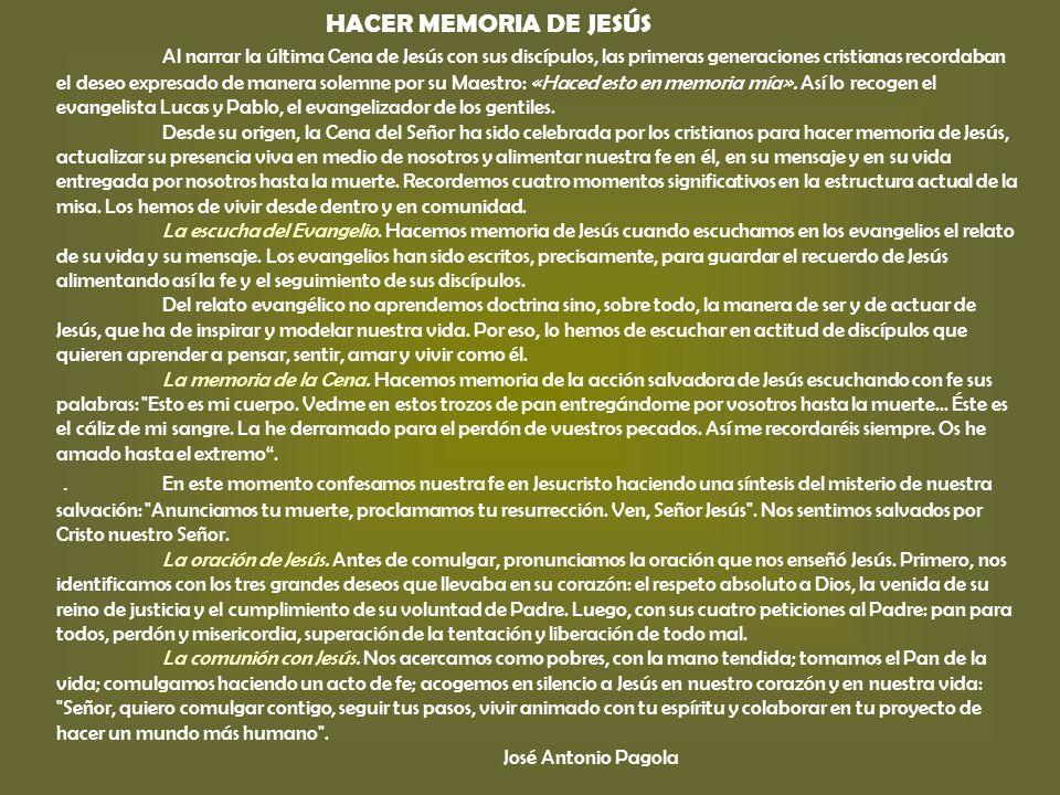 HACER MEMORIA DE JESÚS
