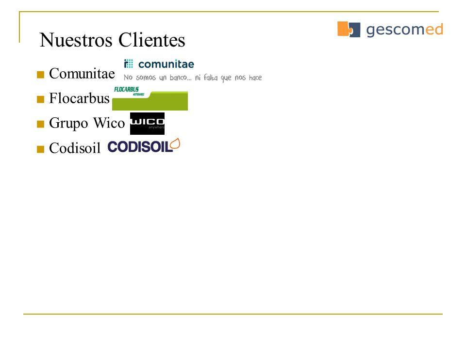 Nuestros Clientes ■ Comunitae ■ Flocarbus ■ Grupo Wico ■ Codisoil