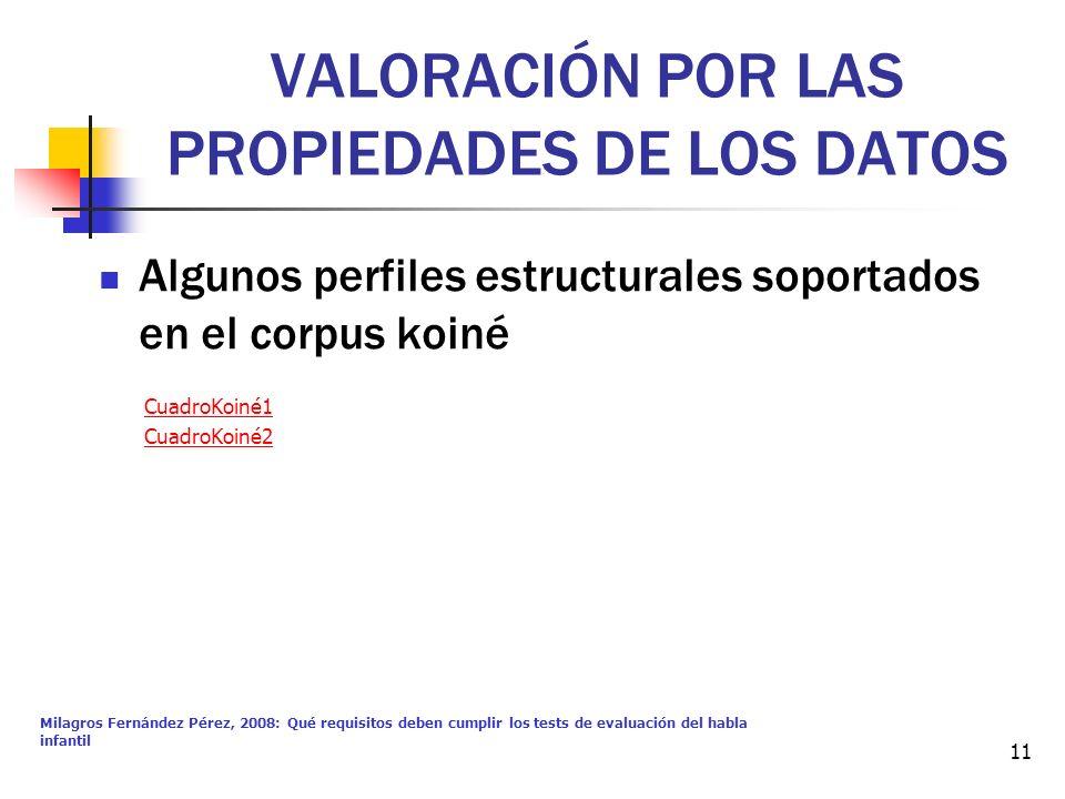 VALORACIÓN POR LAS PROPIEDADES DE LOS DATOS