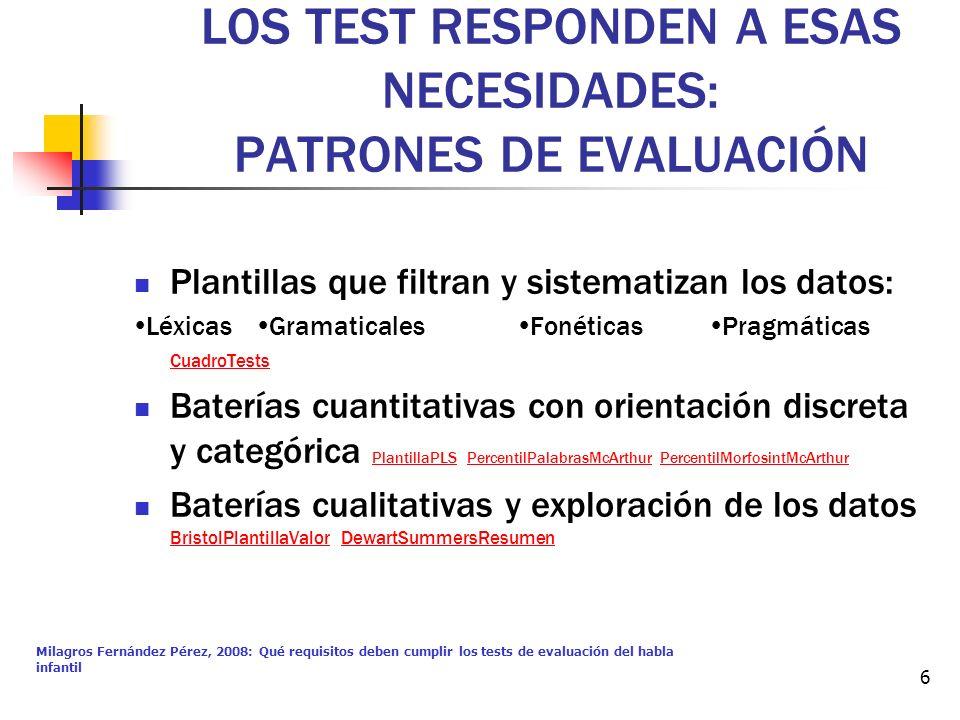 LOS TEST RESPONDEN A ESAS NECESIDADES: PATRONES DE EVALUACIÓN