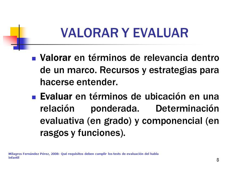 VALORAR Y EVALUAR Valorar en términos de relevancia dentro de un marco. Recursos y estrategias para hacerse entender.