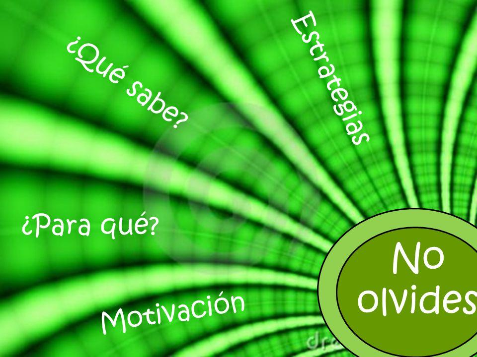 Estrategias ¿Qué sabe ¿Para qué No olvides Motivación