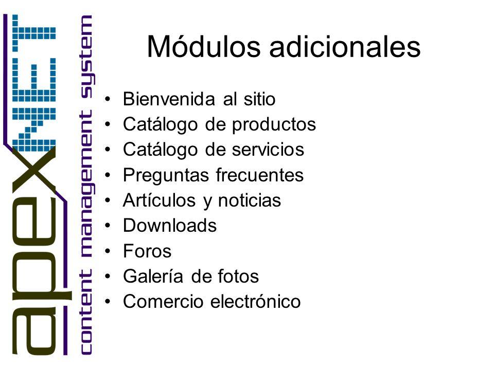 Módulos adicionales Bienvenida al sitio Catálogo de productos