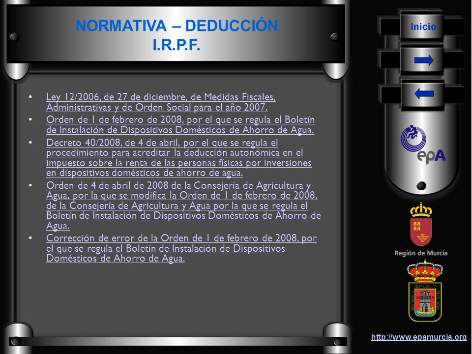 NORMATIVA – DEDUCCIÓN I.R.P.F.