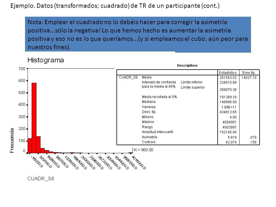 Ejemplo. Datos (transformados; cuadrado) de TR de un participante (cont.)