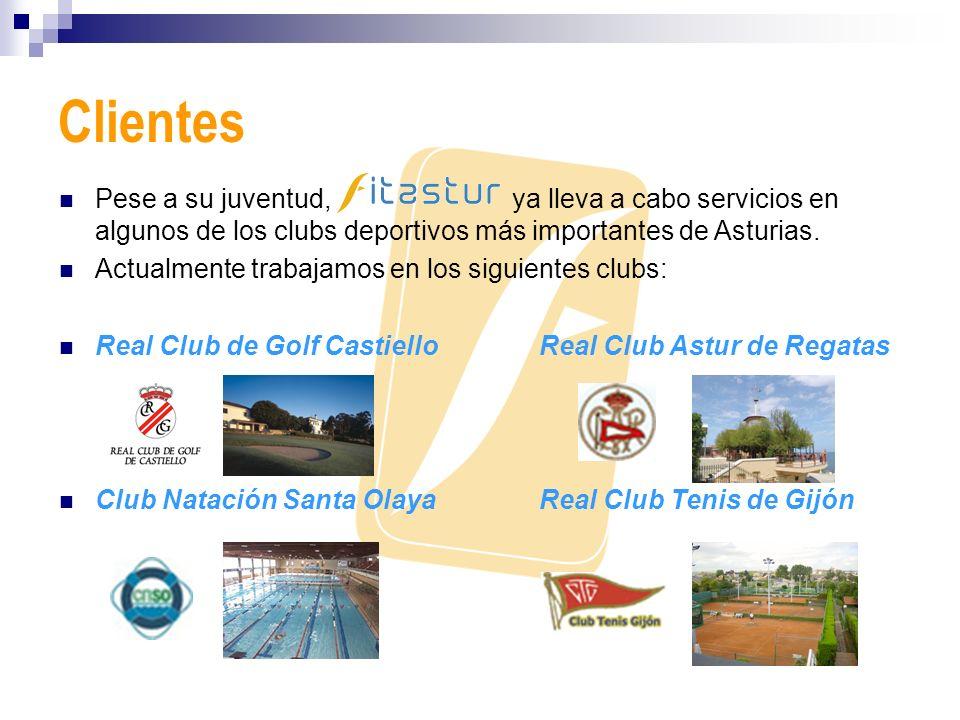 Clientes Pese a su juventud, ya lleva a cabo servicios en algunos de los clubs deportivos más importantes de Asturias.