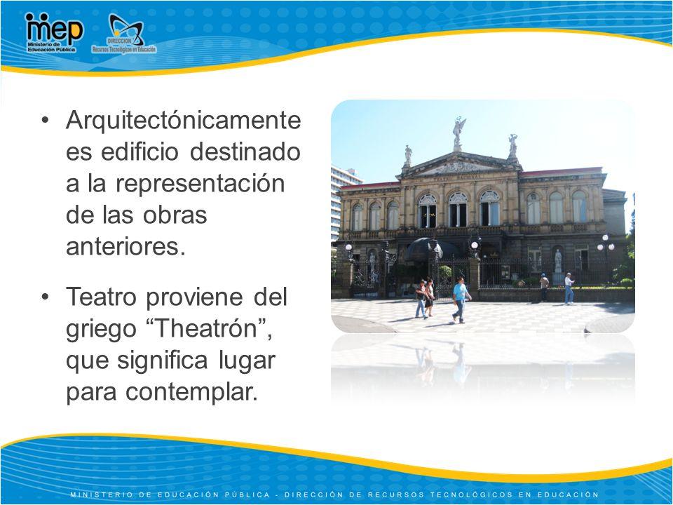 Arquitectónicamente es edificio destinado a la representación de las obras anteriores.