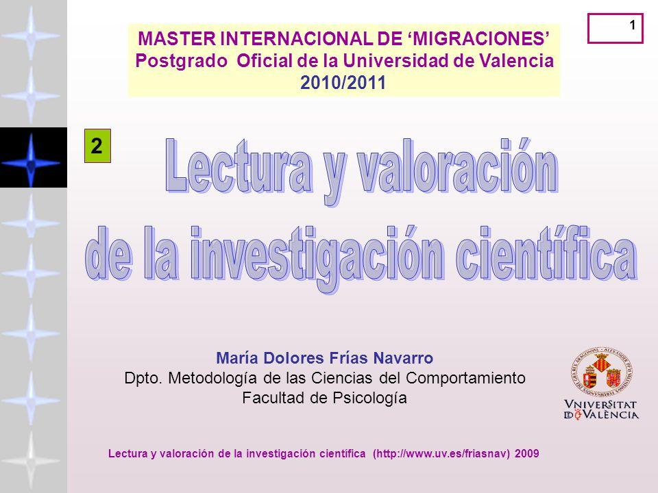 MASTER INTERNACIONAL DE 'MIGRACIONES' María Dolores Frías Navarro