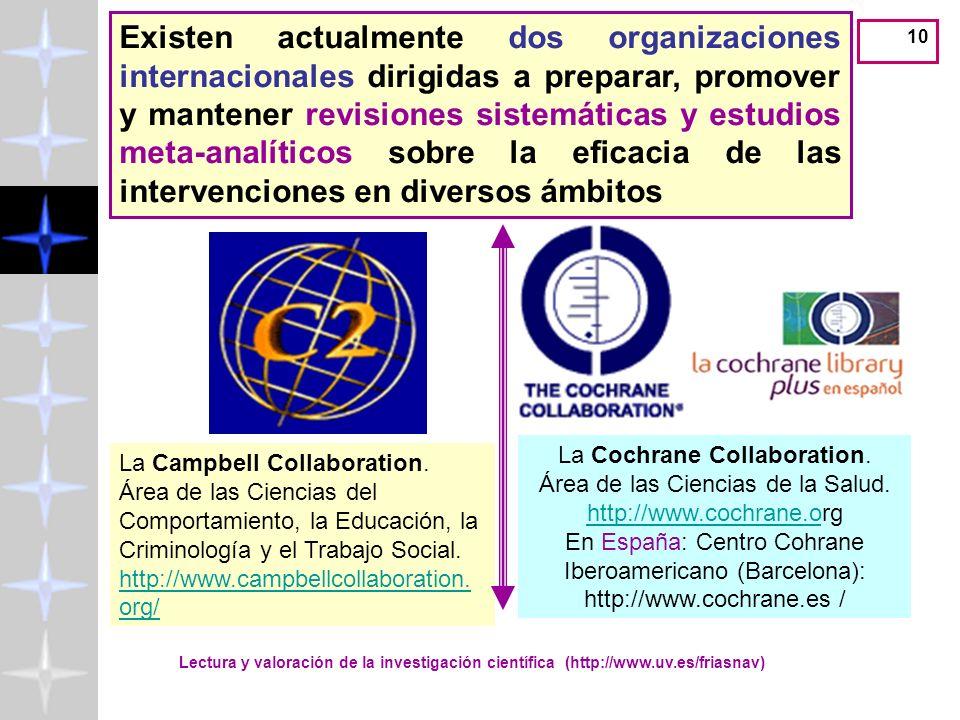 Existen actualmente dos organizaciones internacionales dirigidas a preparar, promover y mantener revisiones sistemáticas y estudios meta-analíticos sobre la eficacia de las intervenciones en diversos ámbitos