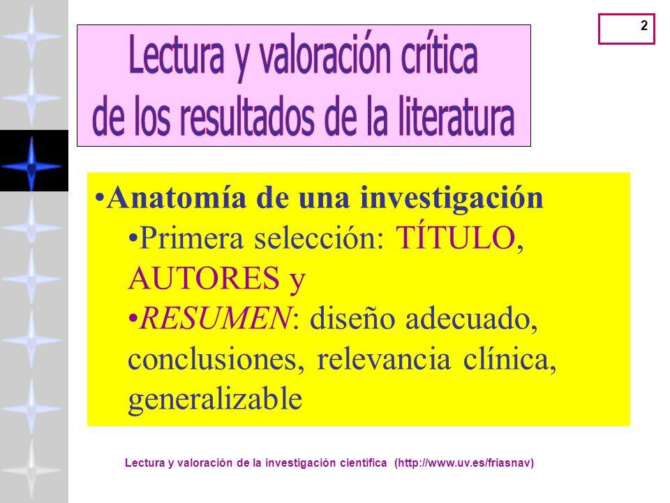Lectura y valoración crítica de los resultados de la literatura