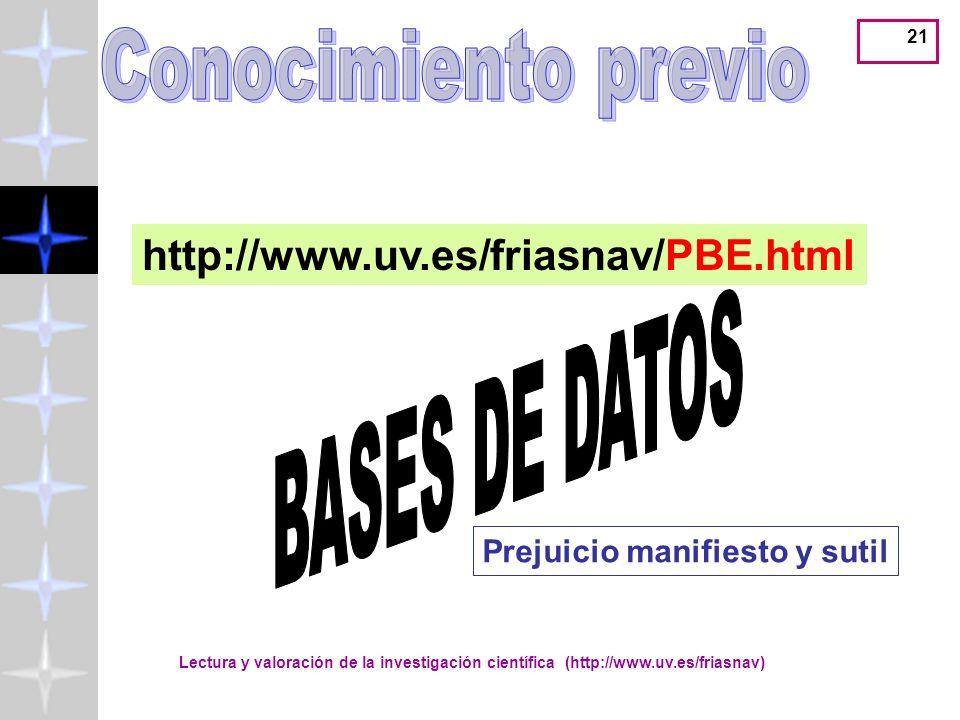 Conocimiento previo BASES DE DATOS http://www.uv.es/friasnav/PBE.html