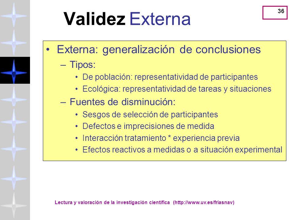 Validez Externa Externa: generalización de conclusiones Tipos: