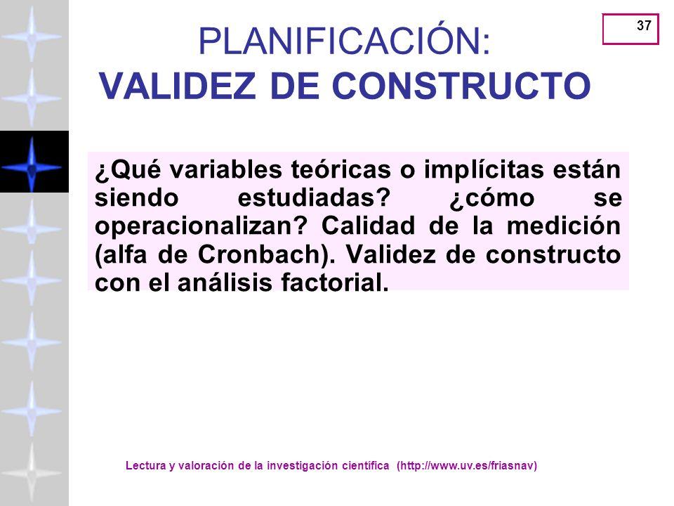 PLANIFICACIÓN: VALIDEZ DE CONSTRUCTO