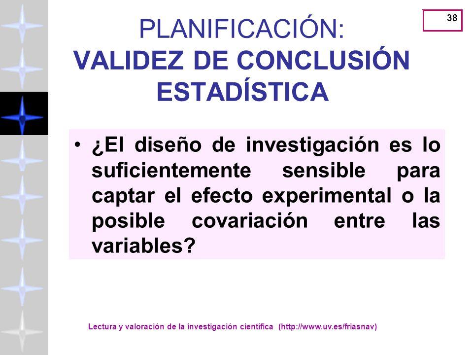 PLANIFICACIÓN: VALIDEZ DE CONCLUSIÓN ESTADÍSTICA