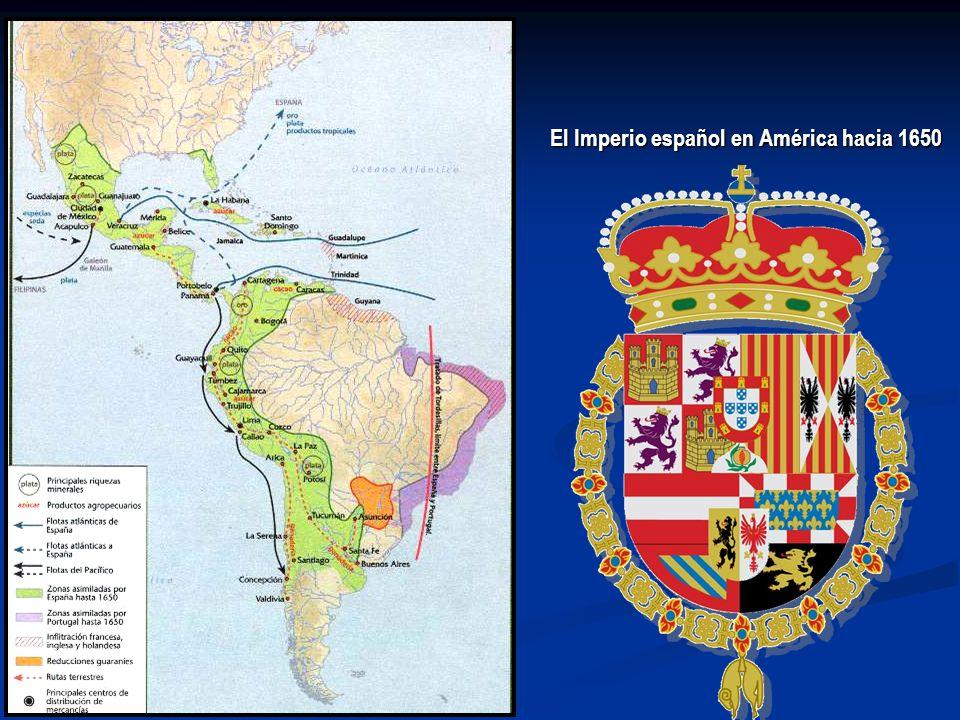 El Imperio español en América hacia 1650