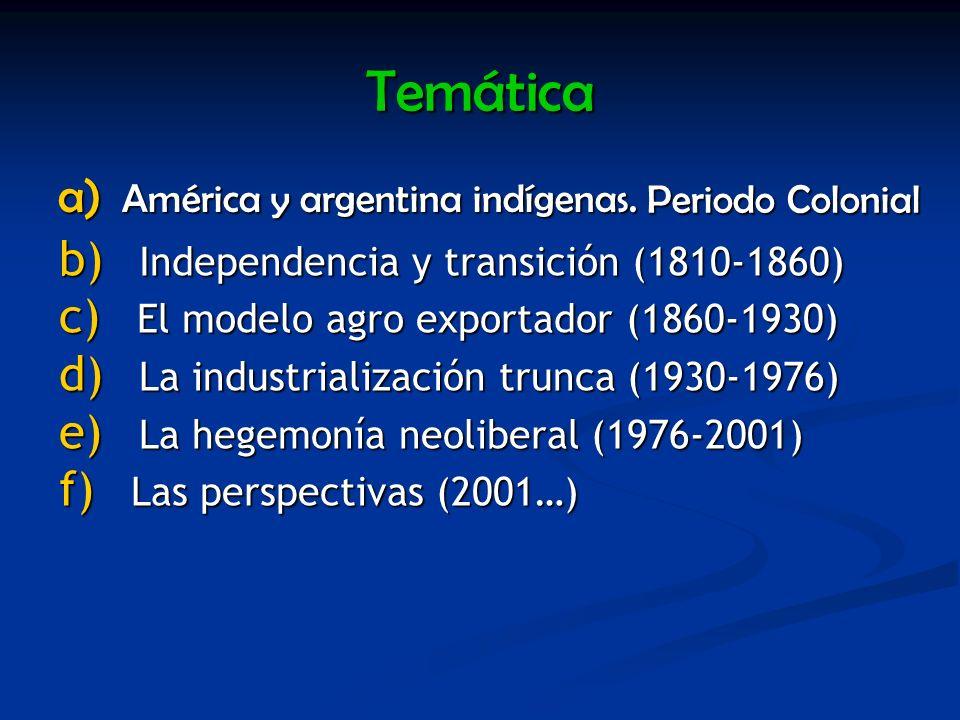 Temática América y argentina indígenas. Periodo Colonial