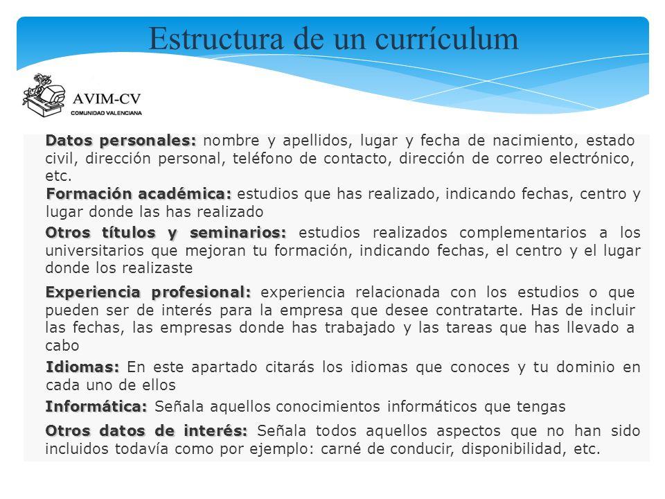 Estructura de un currículum