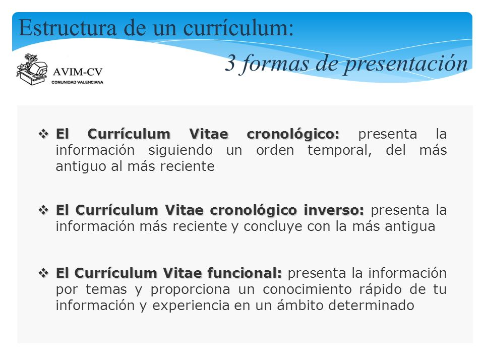 Estructura de un currículum: 3 formas de presentación