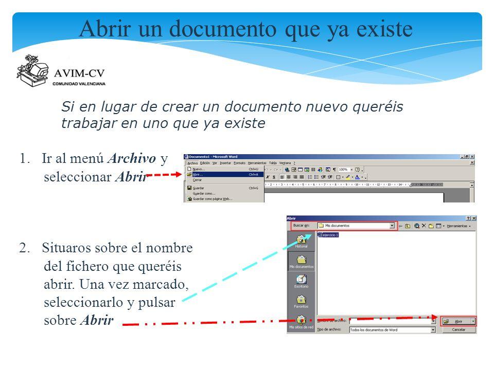 Abrir un documento que ya existe