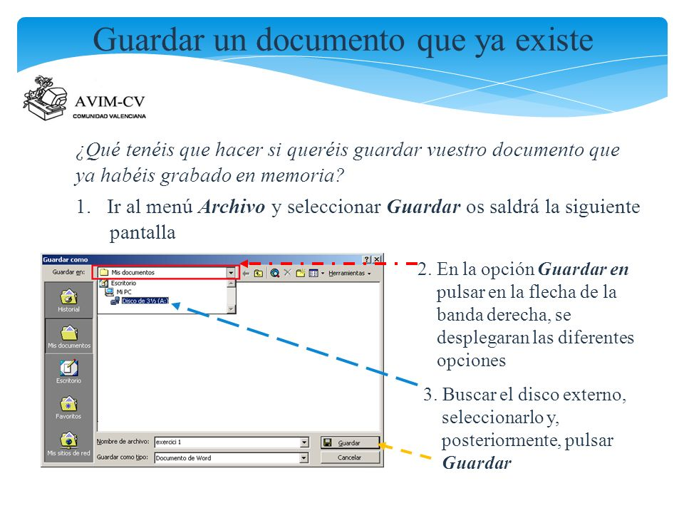 Guardar un documento que ya existe