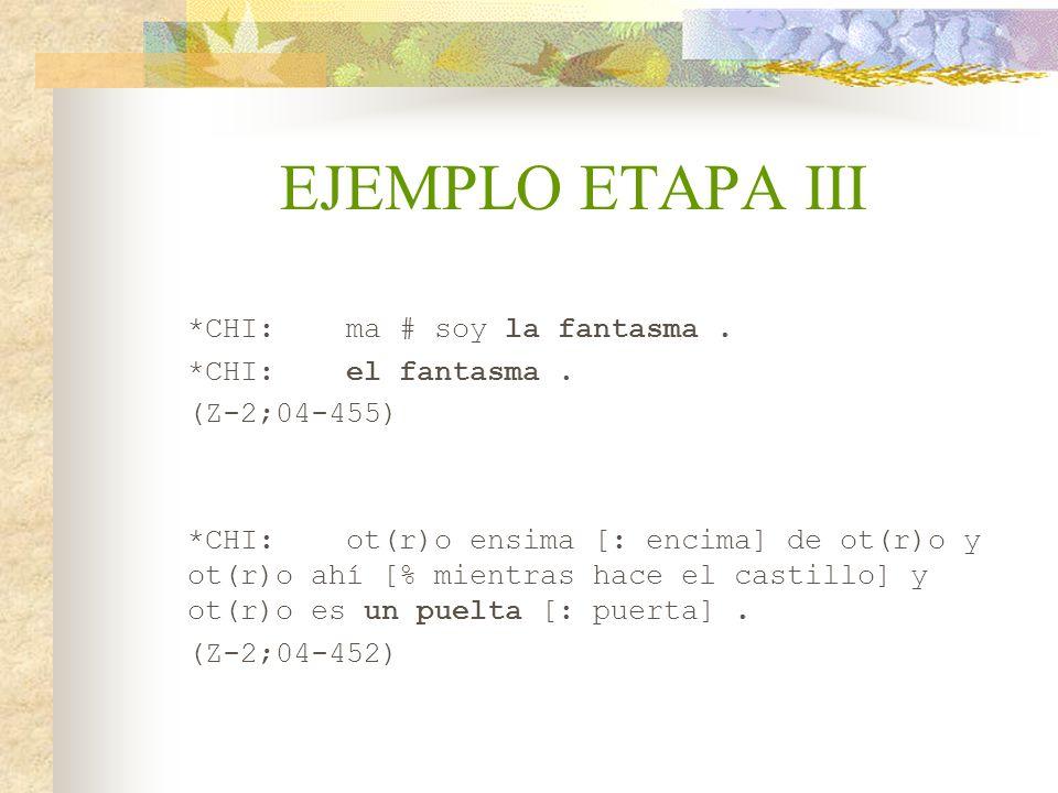 EJEMPLO ETAPA III *CHI: ma # soy la fantasma . *CHI: el fantasma .