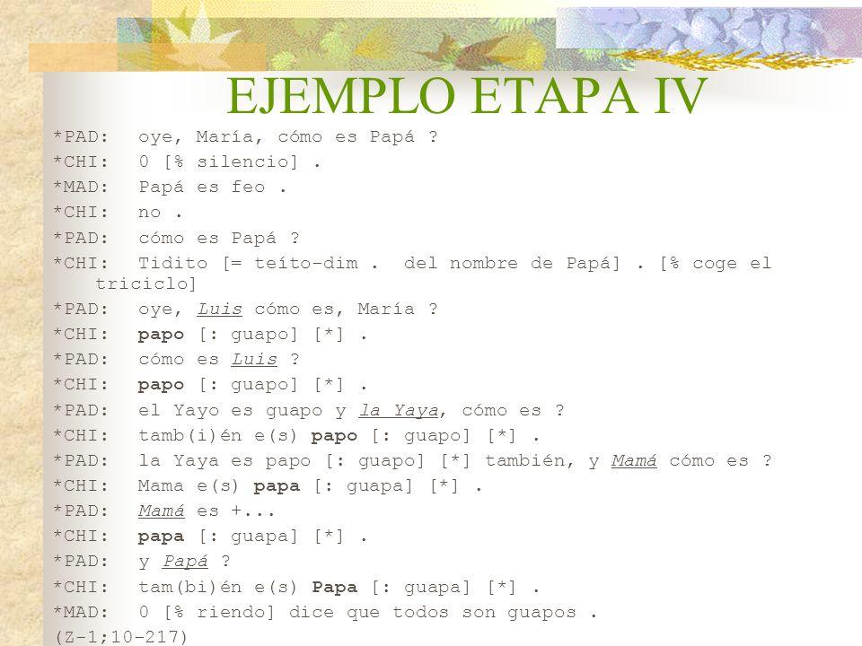 EJEMPLO ETAPA IV *PAD: oye, María, cómo es Papá