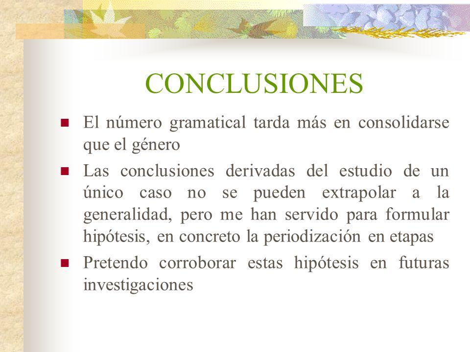 CONCLUSIONES El número gramatical tarda más en consolidarse que el género.