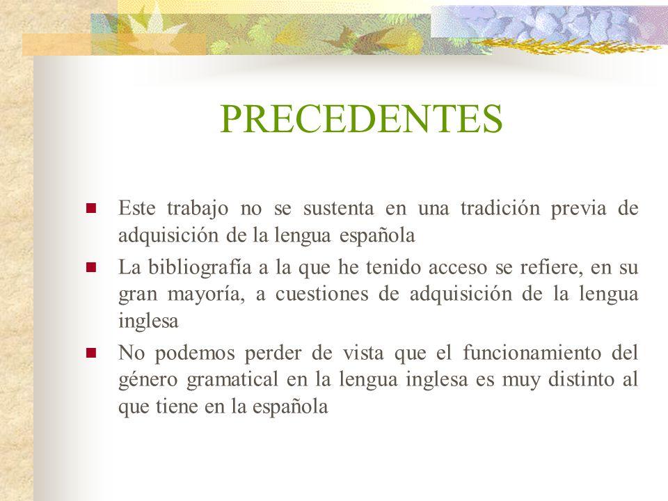 PRECEDENTES Este trabajo no se sustenta en una tradición previa de adquisición de la lengua española.
