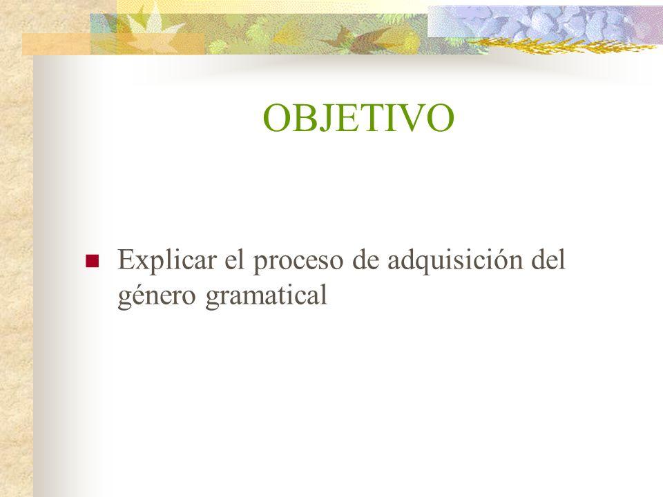 OBJETIVO Explicar el proceso de adquisición del género gramatical