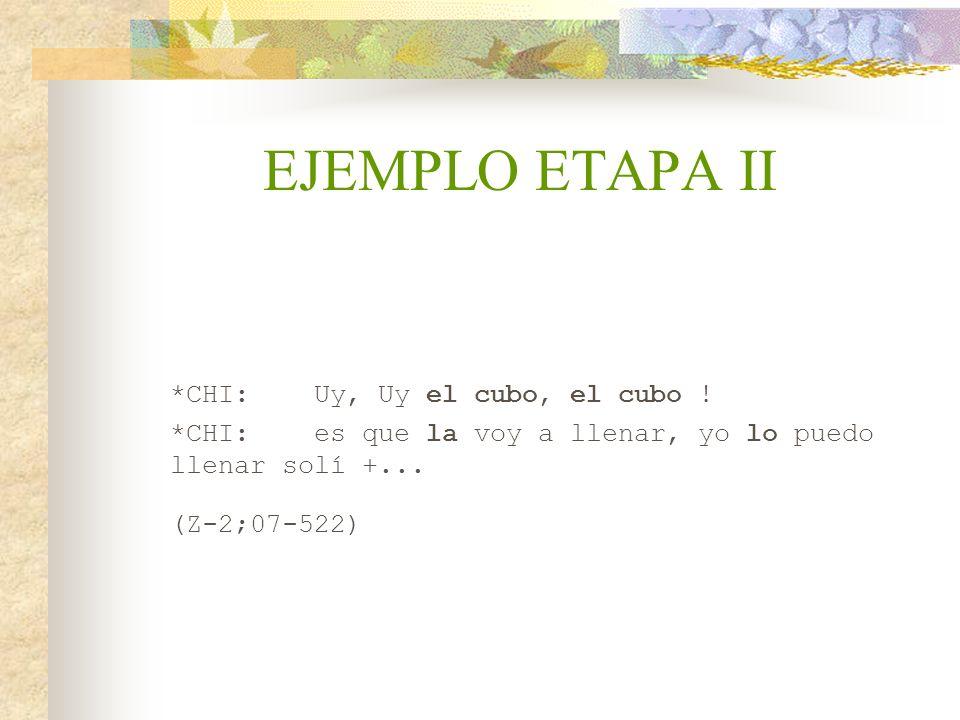 EJEMPLO ETAPA II *CHI: Uy, Uy el cubo, el cubo !