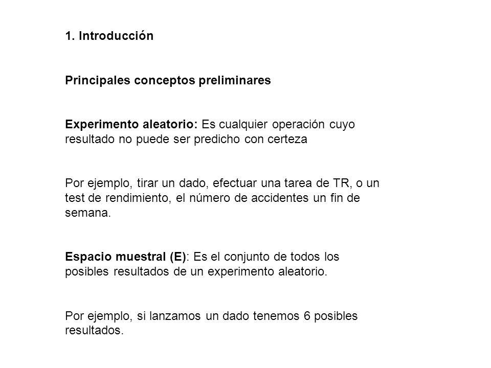 1. Introducción Principales conceptos preliminares. Experimento aleatorio: Es cualquier operación cuyo resultado no puede ser predicho con certeza.