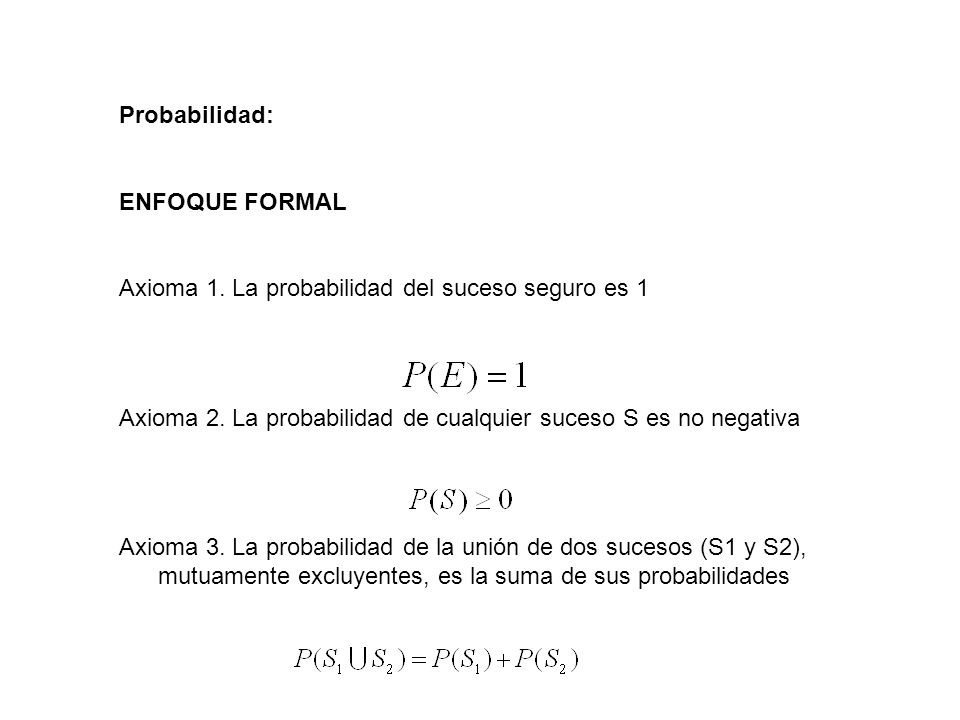 Probabilidad: ENFOQUE FORMAL. Axioma 1. La probabilidad del suceso seguro es 1. Axioma 2. La probabilidad de cualquier suceso S es no negativa.