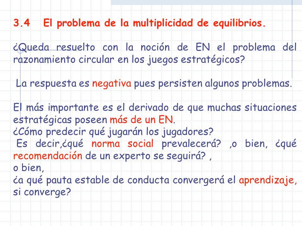 3.4 El problema de la multiplicidad de equilibrios.