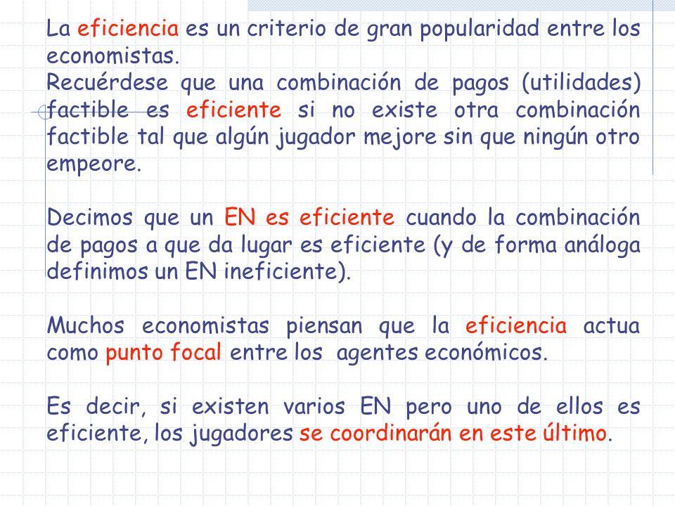 La eficiencia es un criterio de gran popularidad entre los economistas.