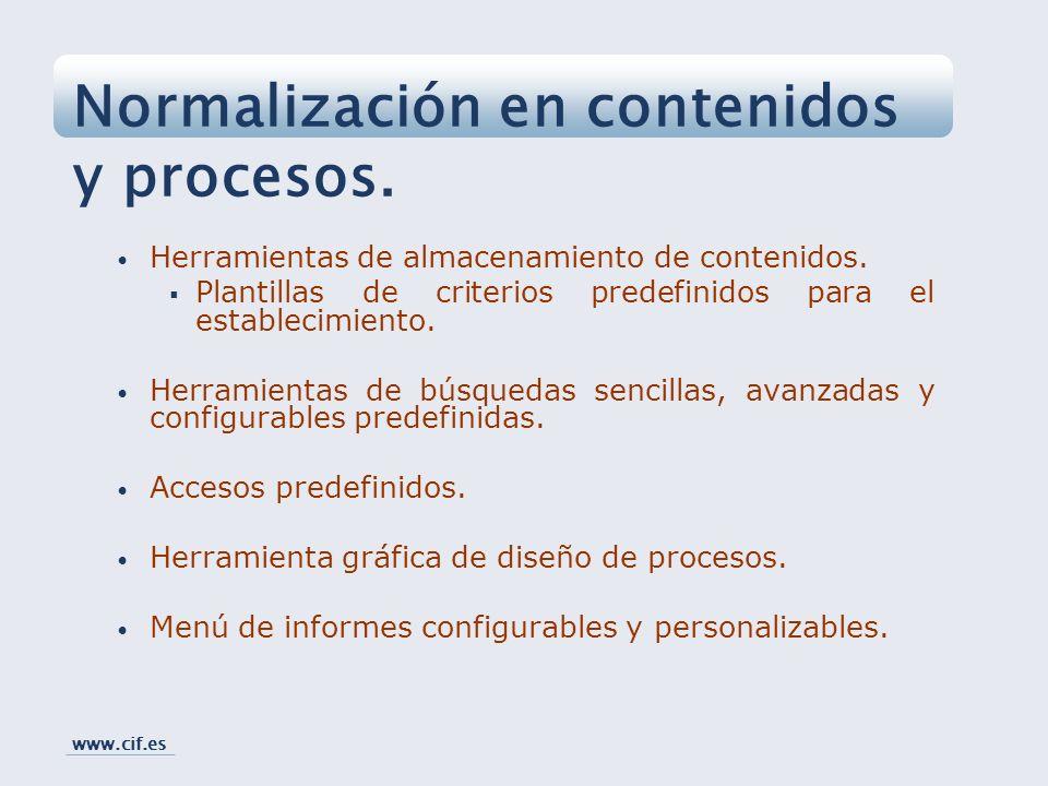 Normalización en contenidos y procesos.