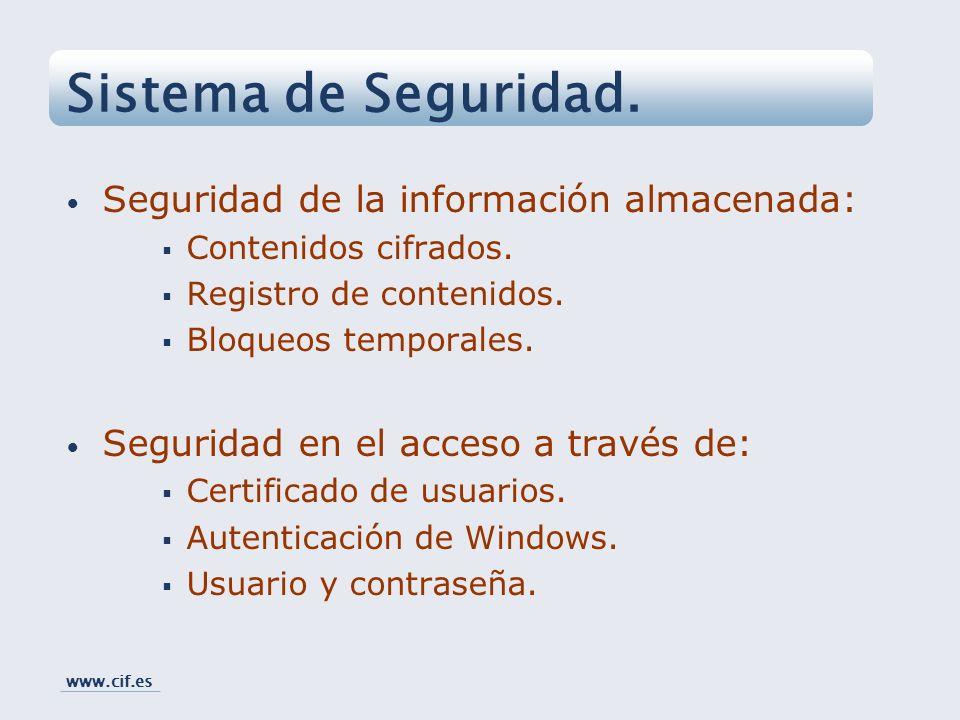 Sistema de Seguridad. Seguridad de la información almacenada: