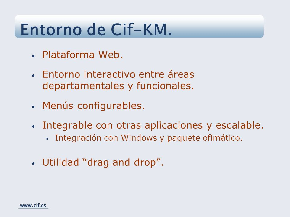 Entorno de Cif-KM. Plataforma Web.
