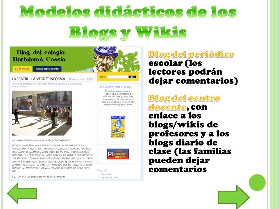 Modelos didácticos de los Blogs y Wikis