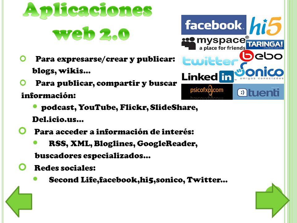 Aplicaciones web 2.0 Para expresarse/crear y publicar: blogs, wikis...