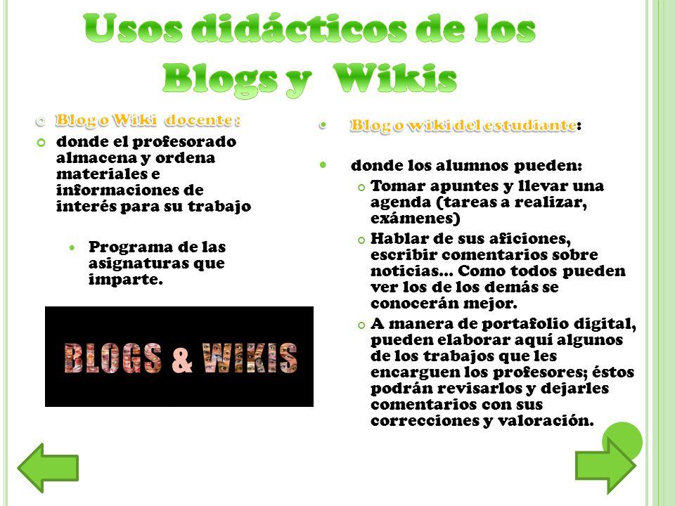 Usos didácticos de los Blogs y Wikis