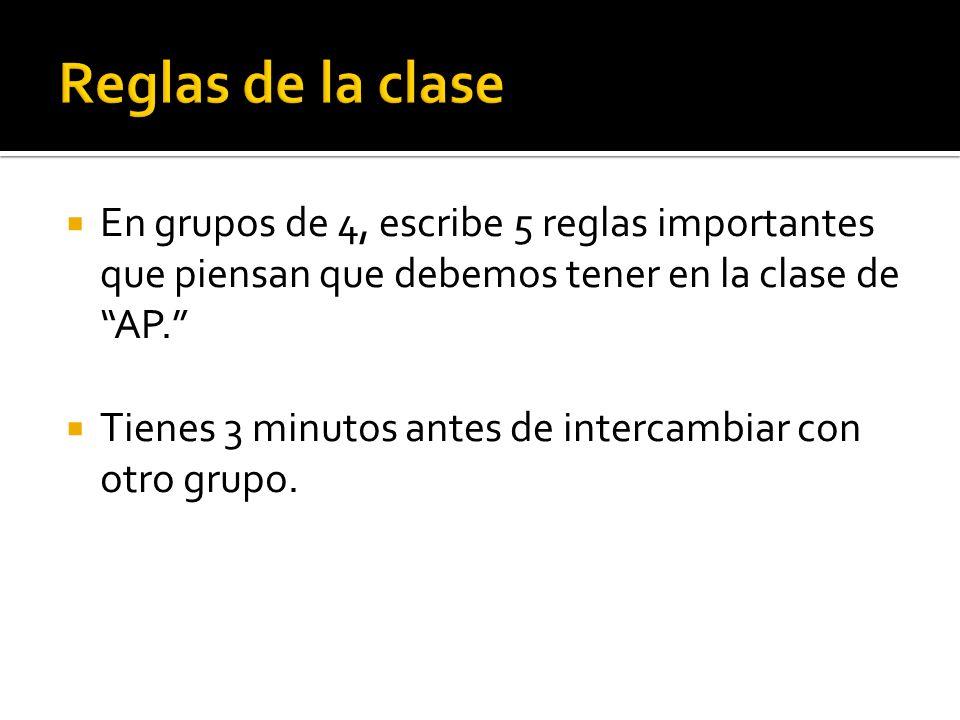 Reglas de la clase En grupos de 4, escribe 5 reglas importantes que piensan que debemos tener en la clase de AP.