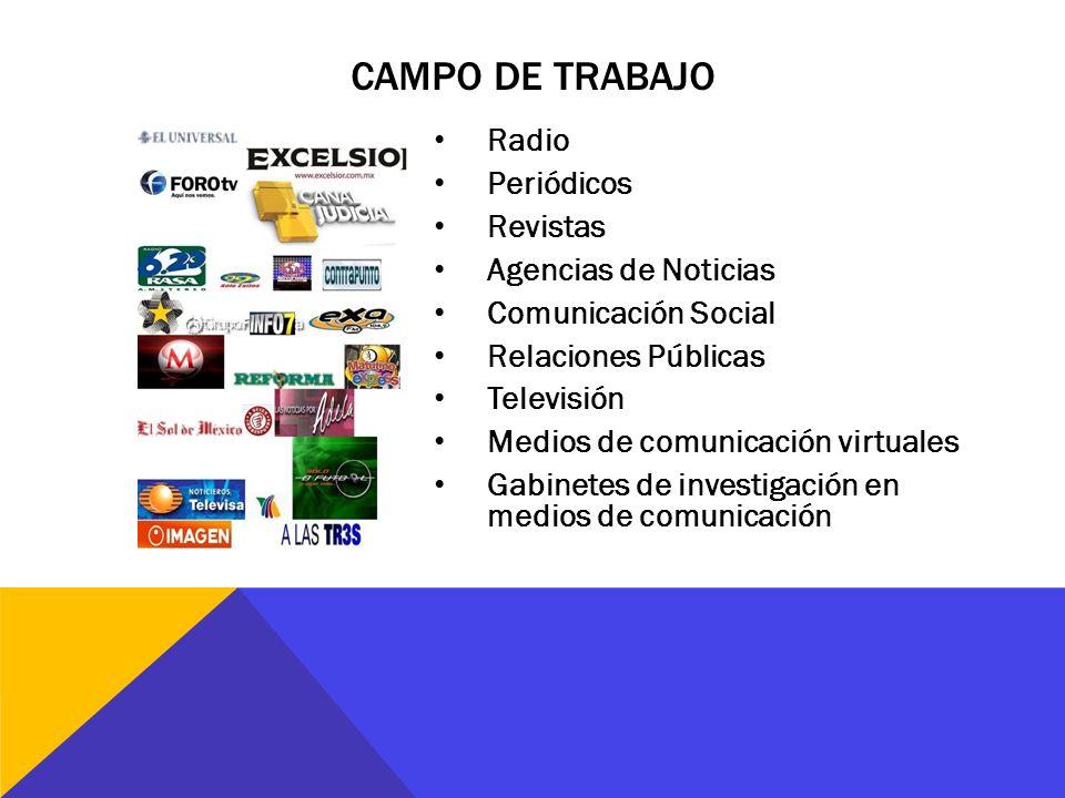 Campo de trabajo Radio Periódicos Revistas Agencias de Noticias