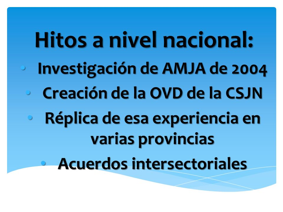 Hitos a nivel nacional: