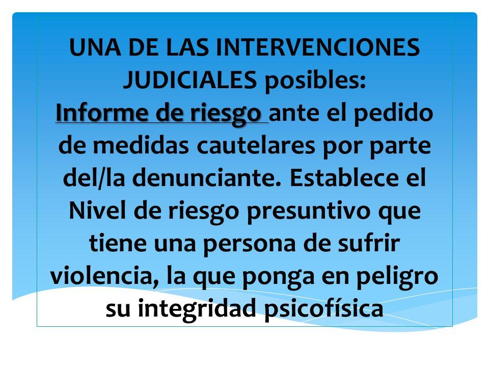 UNA DE LAS INTERVENCIONES JUDICIALES posibles: Informe de riesgo ante el pedido de medidas cautelares por parte del/la denunciante.