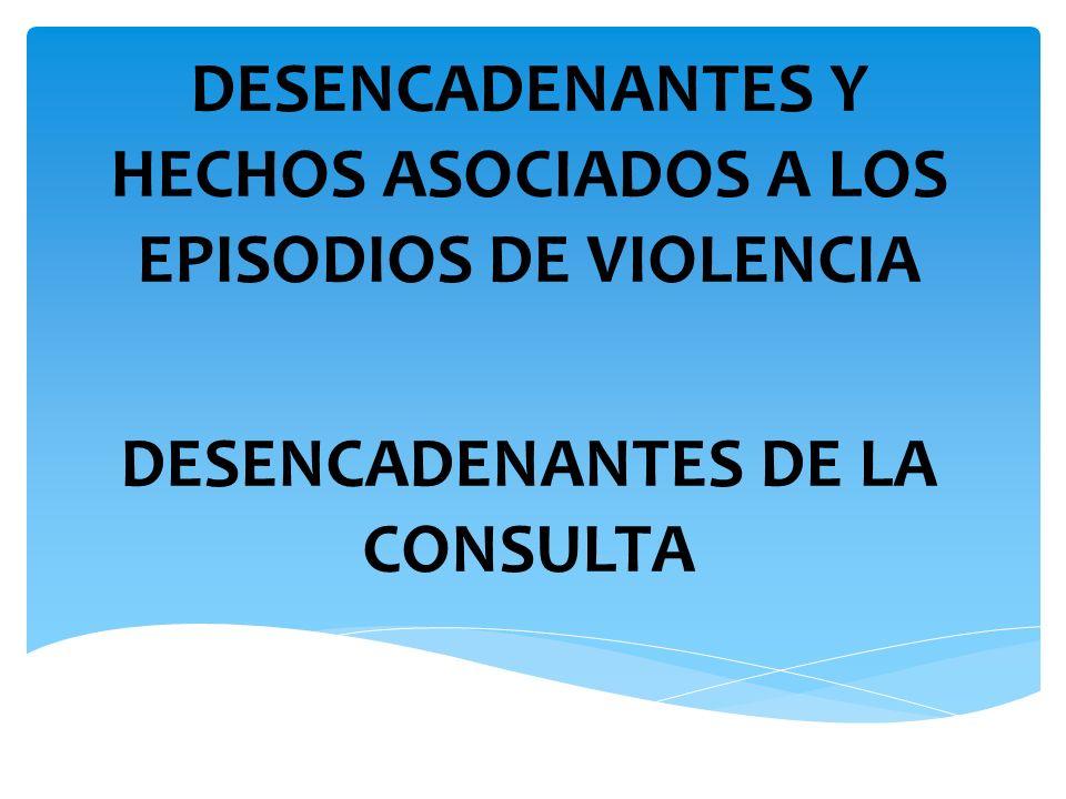 DESENCADENANTES Y HECHOS ASOCIADOS A LOS EPISODIOS DE VIOLENCIA
