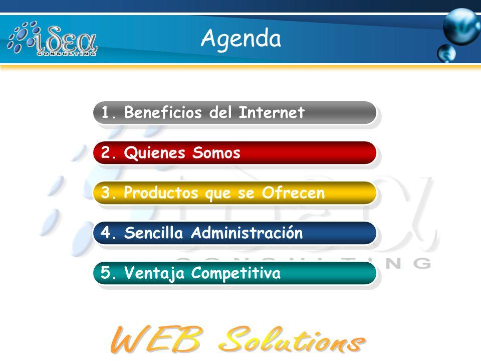 Agenda 1. Beneficios del Internet 2. Quienes Somos