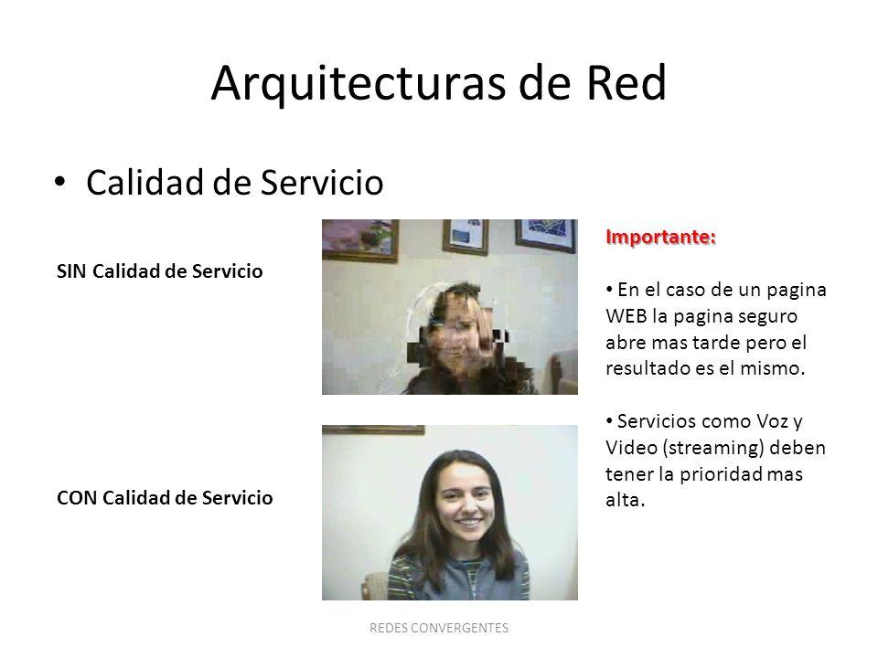Arquitecturas de Red Calidad de Servicio Importante: