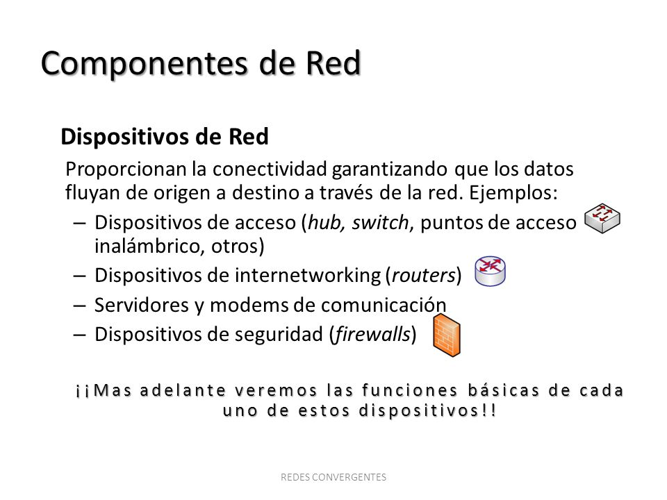Componentes de Red Dispositivos de Red
